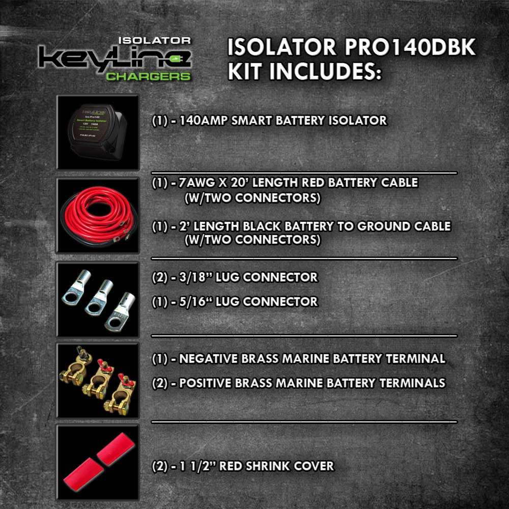 140 Amp Dual Battery Isolator By Keyline Chargers Iso Polaris Ranger Wiring Diagram Pro140 Pro Kit Automotive