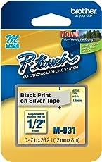 Brother Cinta M931 Negro/Plata - Etiquetas de impresora