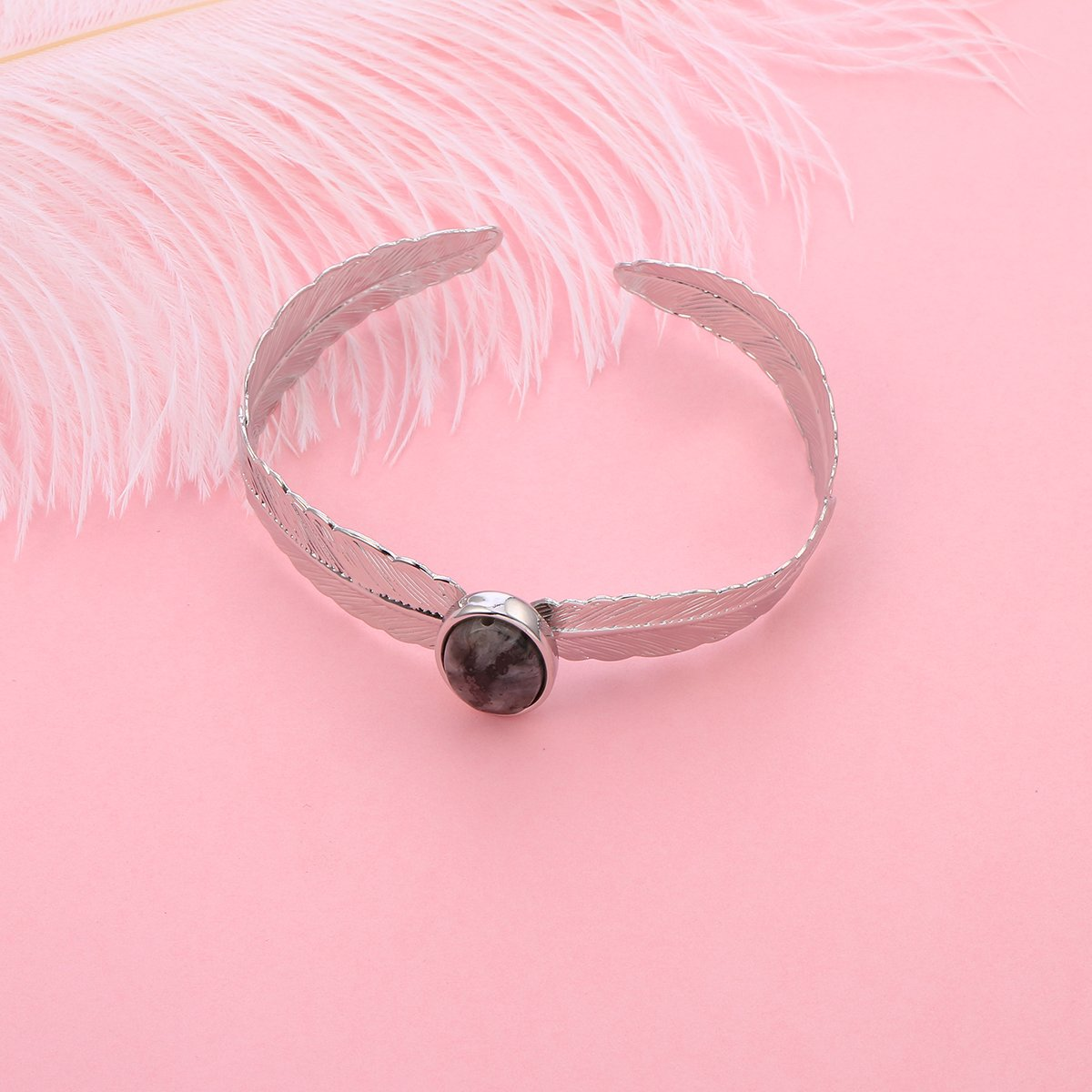 Ouran Bangle Bracelet for Women,Black Stone Cuff Bracelet Friendship Bracelet Girls Silver Wrap Bracelet