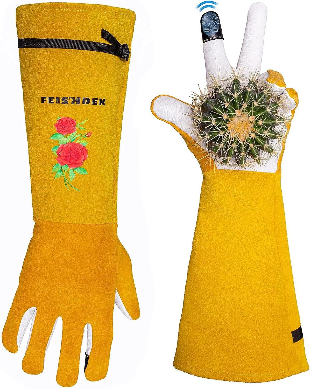 Thorn Proof Garden Gloves Women, 2 Layer Leather Gardening Pruning Rose Gauntlet