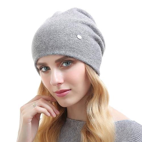 YAANCUN Sombreros de Punto para las Mujeres - YAANCUN Beanie Hat lana de Invierno de Metal Decoració...