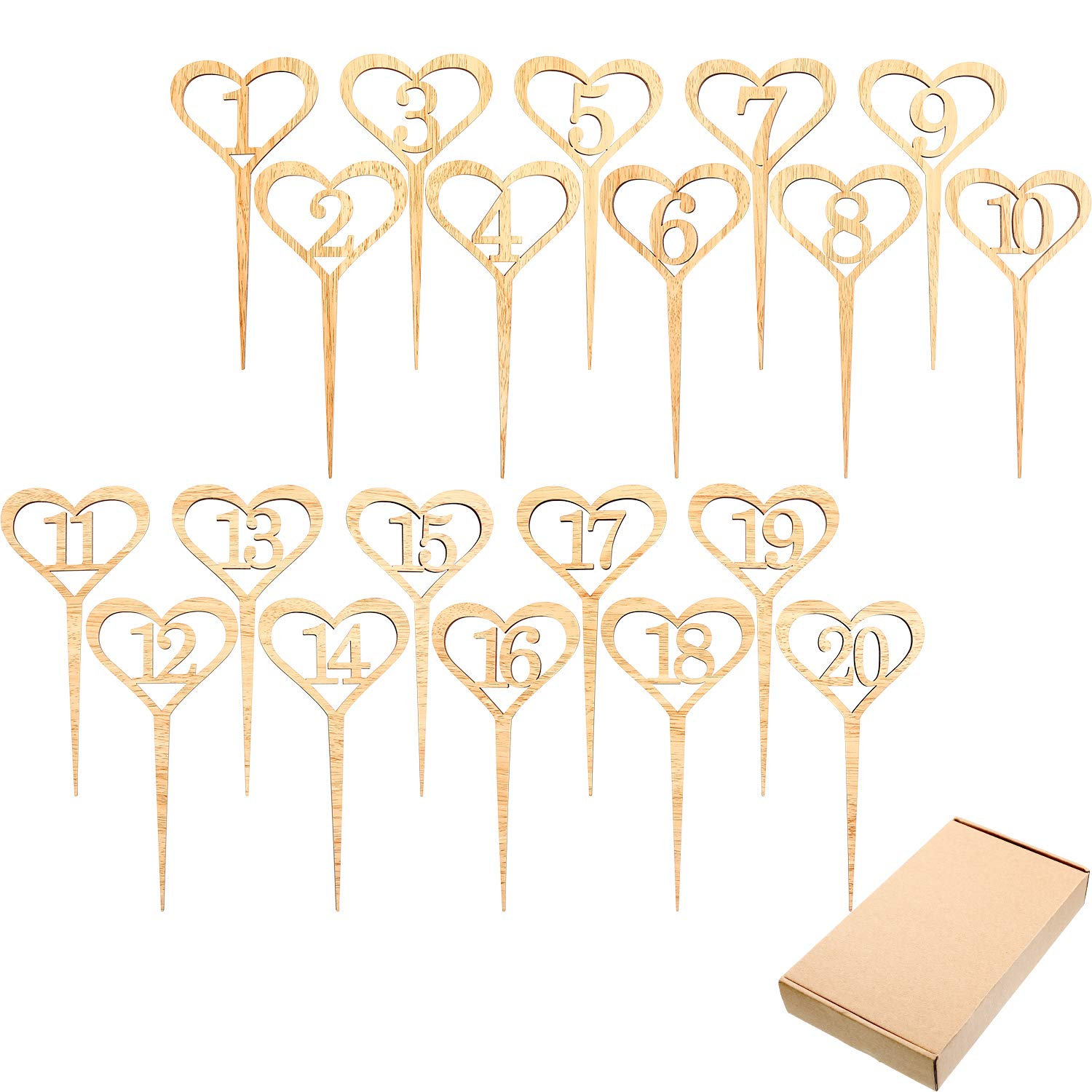 SATINIOR 20 Pieces Wedding Table Number Cards Wooden Heart Shape Numbers for Wedding Party DIY Crafts, 1 to 20 Numbers