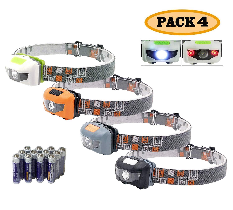 Pack 4.SUNYANG Waterproof White+Red Light Headlamp,4 Brightness Level Choice,160 Lumens,50g Weight,Comfortable Head Headlamp