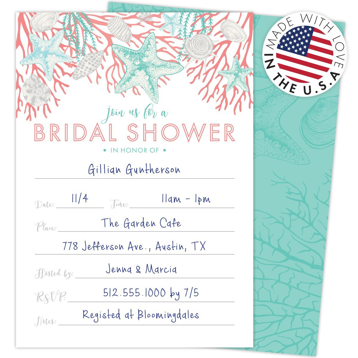 Amazon.com: Beach Bridal Shower Invitations Set of 25 Cards and ...