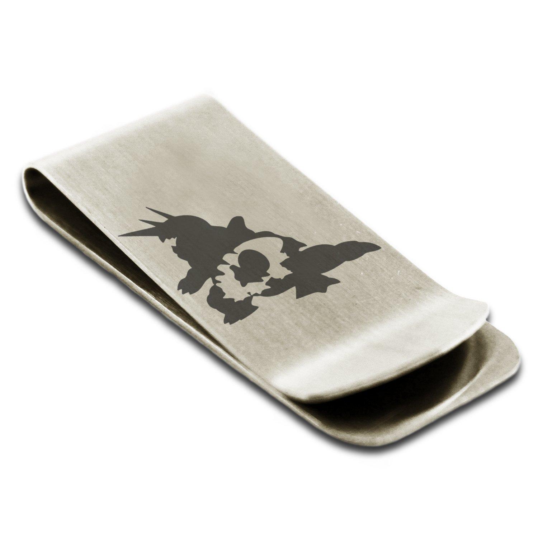 Stainless Steel 3rd Gen Aron Lairon Aggron Pokémon Engraved Money Clip Credit Card Holder