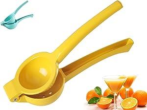 Lemon Squeezer, Manual Juicer, Easy-to-Operate Metal Lemon Juicer, Popular Kitchen Tool (Lemon Yellow)