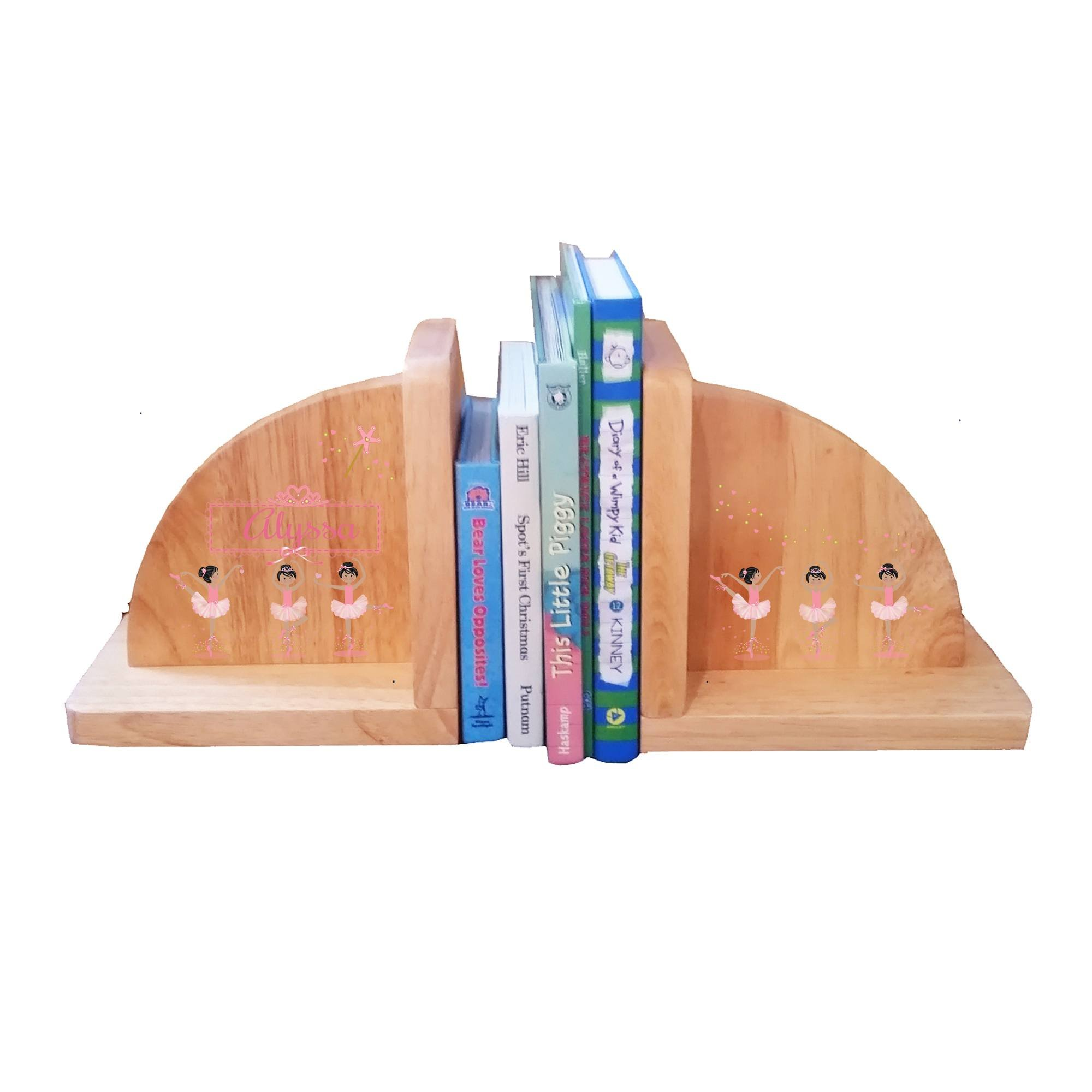 Personalized Ballerina Black Hair Natural Wooden Bookends