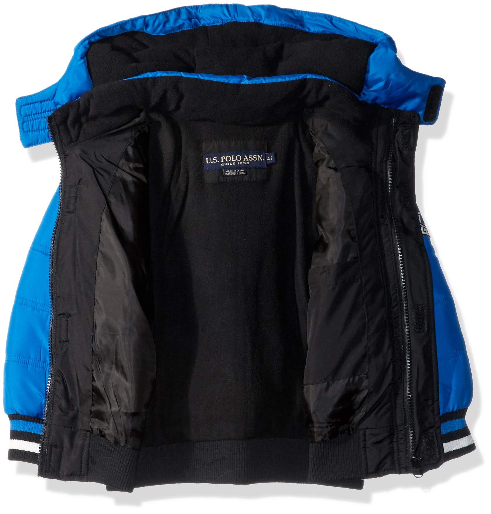 US Polo Association Boys' Big Bubble Jacket with Rib Knit Cuffs, Black/Blue Tile, 8 by U.S. Polo Assn. (Image #2)
