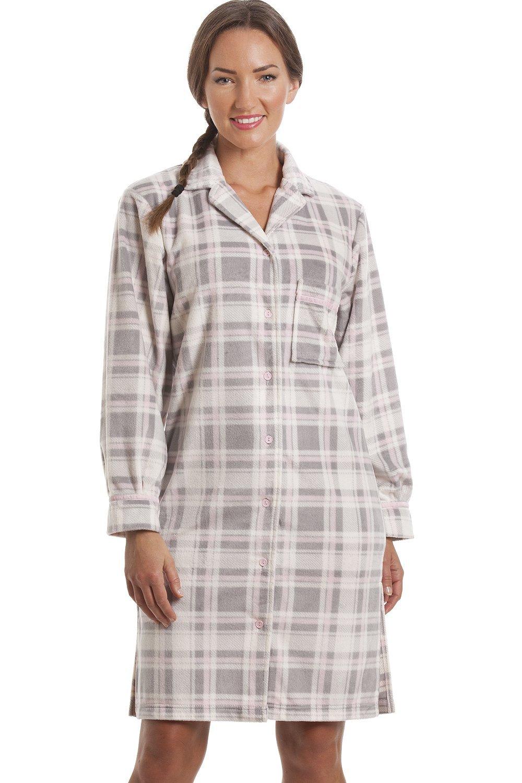 Camille Womens Ladies Grey Checkered Fleece Button Front Nightshirt