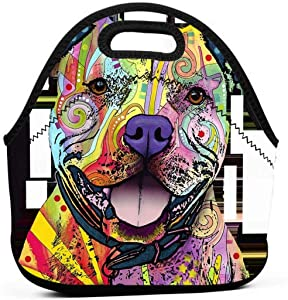 Colors Print Pitbull Insulated Neoprene Lunch Bag Tote Handbag lunchbox Food Container Gourmet Tote Cooler warm Pouch For School work Office