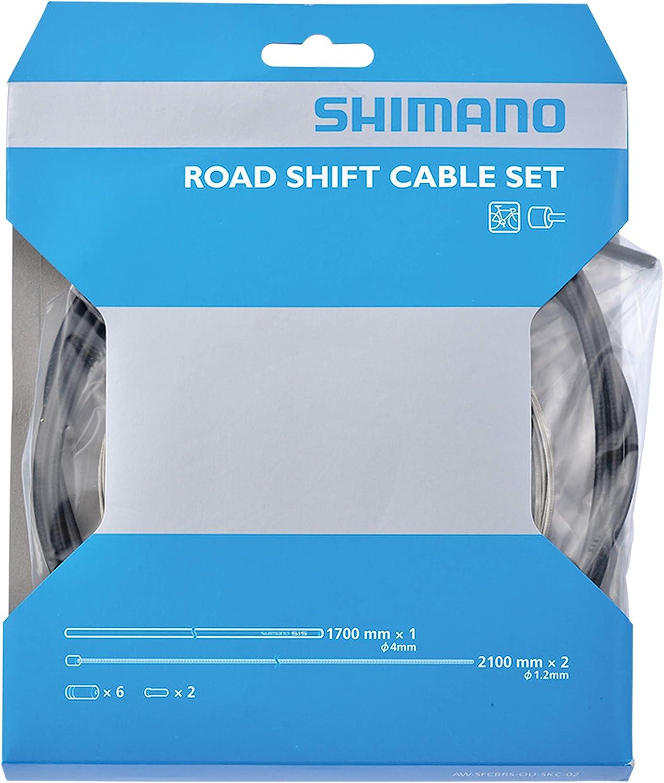 SHIMANO Schaltzug-Set Road Stahl Palanca de Cambios, Unisex Adulto, Negro, 2X 2.100 mm
