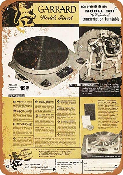 Amazon com: Tamengi 1955 Garrard 301 Turntables Vintage Look