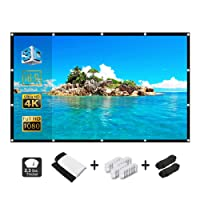 120 inch Projection Screen 16:9 High Contrast Collapsible PVC HD 4K Portable Projector Movies Screen for Home Theater Outdoor Indoor and Outdoor Movie Match Party Support Double Sided Projection
