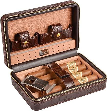 Humidor de puros Volenx de piel de cocodrilo con cristal humidificador, cortapuros, tubos para puros – 5 puros: Amazon.es: Hogar