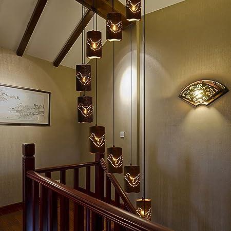 AMOS Escalera dúplex Araña China Jardín de madera de bambú Restaurante Country Sala de estar Bar Casa de té Casa de campo Larga araña: Amazon.es: Hogar