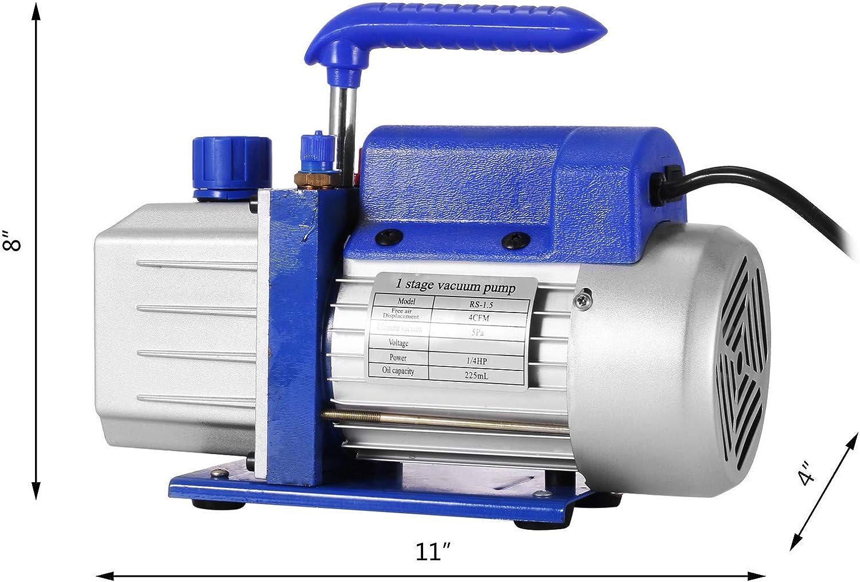Bomba de Vac/ío 4CFM1//4HP Bomba de Vac/ío para Aire Acondicionado Bomba de Vacio Coche con 1 V/álvula de A//C