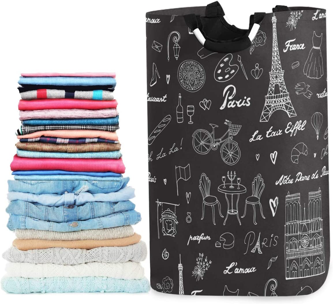 visesunny Collapsible Laundry Basket Paris Eiffel Tower Large Laundry Hamper Waterproof Foldable Fabric Dirty Clothes Toy Organizer for Bathroom Kids Room Dorm