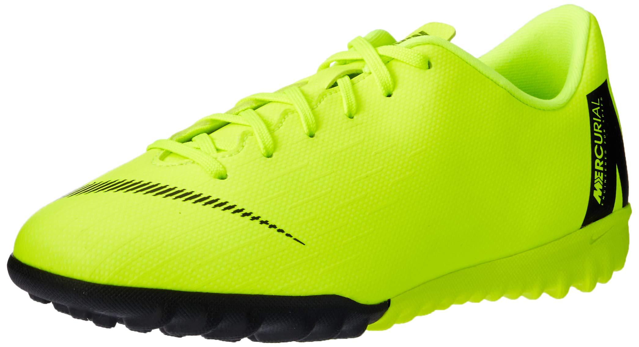 Nike Jr. VaporX 12 Academy Turf Soccer Shoes (2.5 M US Little Kid, Volt/Black)