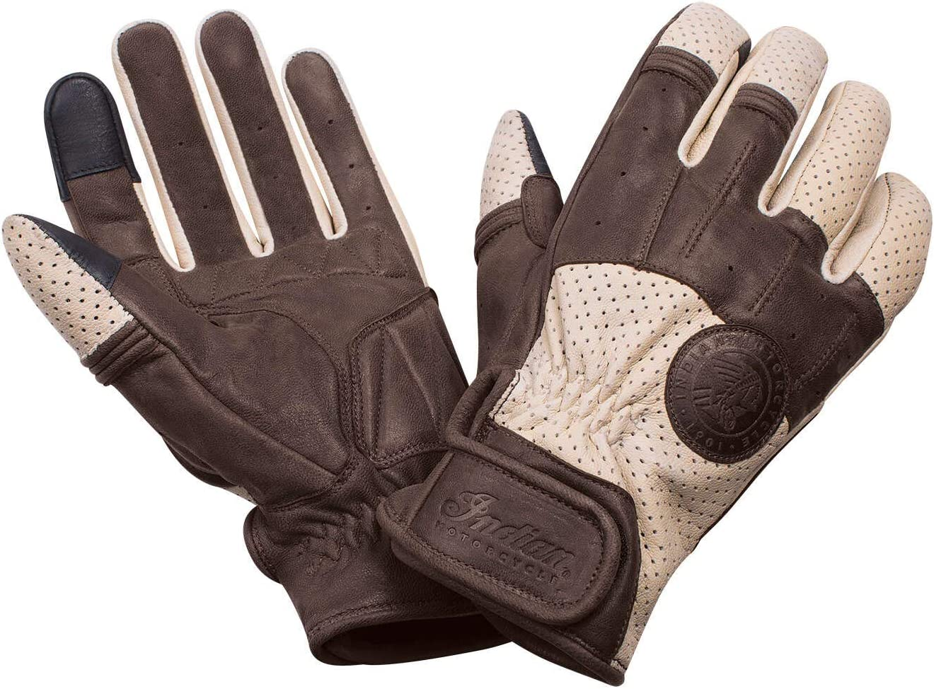 Mens Premium Motorcycle Leather Perforated Cruiser Safety Gel Brown Gloves M
