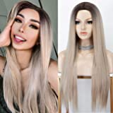 K'ryssma 22 Inches Ombre Blonde Wig with Dark Roots Straight Long Synthetic Wigs with Deep Middle Parting