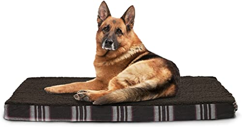 Furhaven Faux Sheepskin and Plaid Deluxe Orthopedic Pet Bed, Jumbo, Java Brown