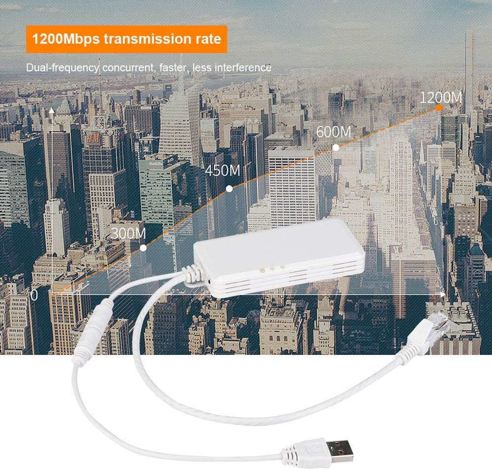 2.4GHz//5GHz Dual Band WiFi Adapter Wireles USB Network w//Antenna for Computer PC Win XP//7//8//10,MAC,Linux Lazmin Wireless USB WiFi Adapter