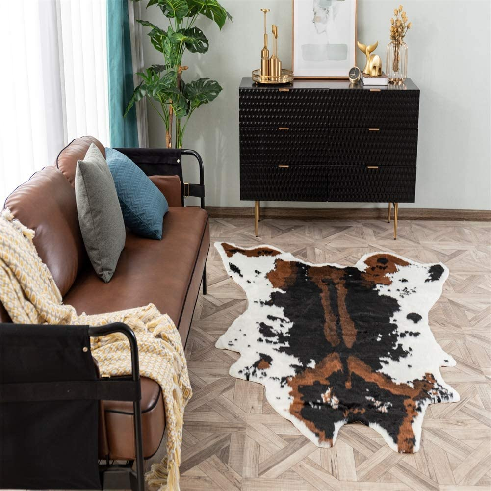 Faux Cowhide Rug 39 3 W X37 1 L Brown Cow Print Area Rug For A Western Decor Cute Animal Printed Carpet For Home Living Room Kitchen Dining