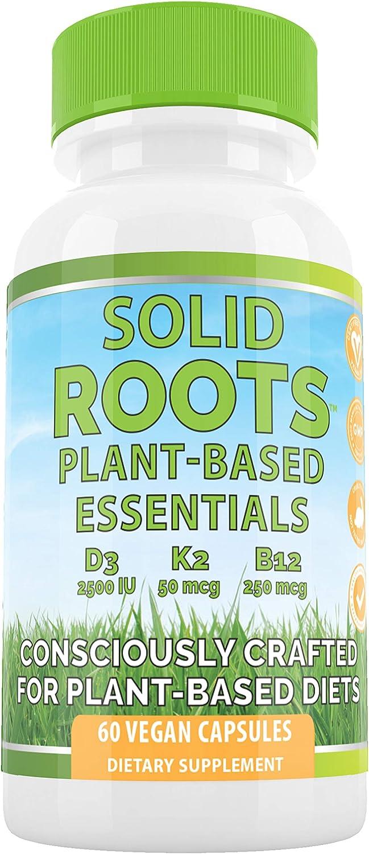 Vegan Vitamin D3 + K2 +B12 for Bones, Heart, Skin, Teeth &| Solid Roots Plant-Based Multivitamin Essentials