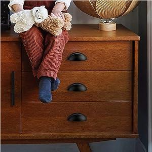 "15 Pack 3"" Drawer Pulls Flat Black Cabinet Pulls Kitchen hardware Cabinet Handles Drawer Handles Knobs 3 inch Hole center"