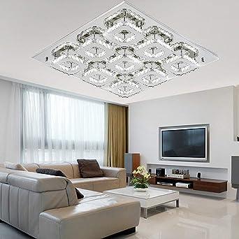 SAILUN 108W Kaltweiß Quadrat LED Kristall Deckenleuchte Badleuchte Licht  Schlafzimmer Wohnzimmer Deckenlampe (108W Kaltweiß)