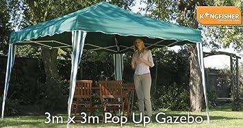 GREEN POP UP GAZEBO 3m X EASY SETUP COMPACTS EASILY FOLDING