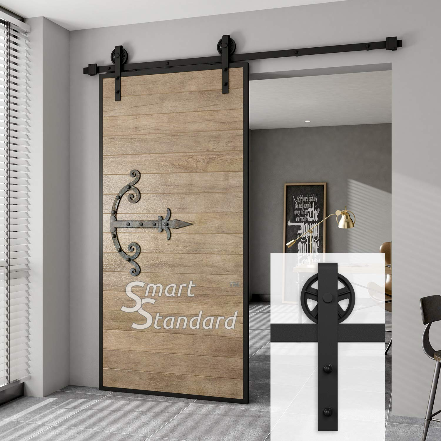 SMARTSTANDARD SDH0066BIGWHEELBK 6.6ft BigWheel Sliding Barn Door Hardware Kit,Black, Super Smoothly and Quietly, Simple and Easy to Install, Fit 36''-40'' Wide DoorPanel/Big Wheel Hangers