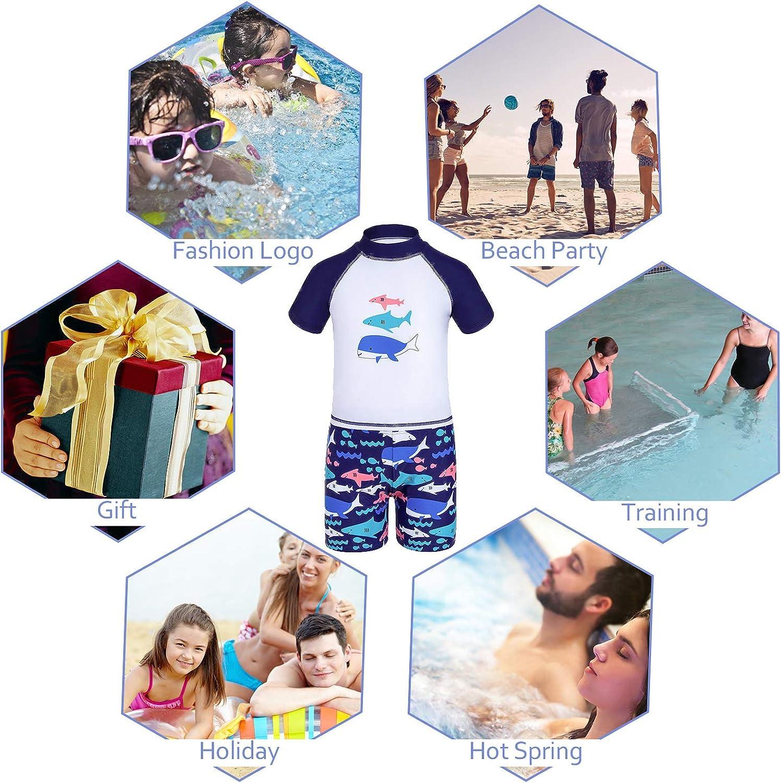 GAZIAR Boys Shark Rash Guard Kids Long Sleeve UV Protection Swimsuit Dinosaur Swimwear