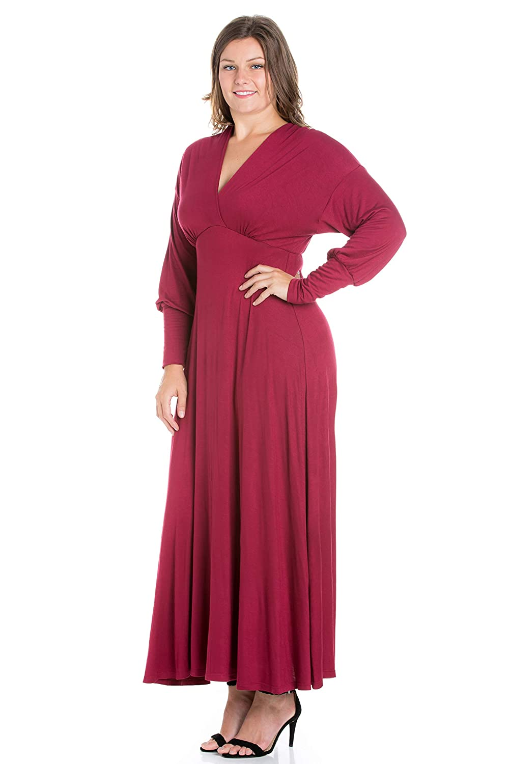 883d72c8d43 24seven Comfort Apparel Women s Plus Size Drop Shoulder Long Sleeve V Neck Maxi  Dress - Made in USA - (Sizes 1XL-3XL) at Amazon Women s Clothing store