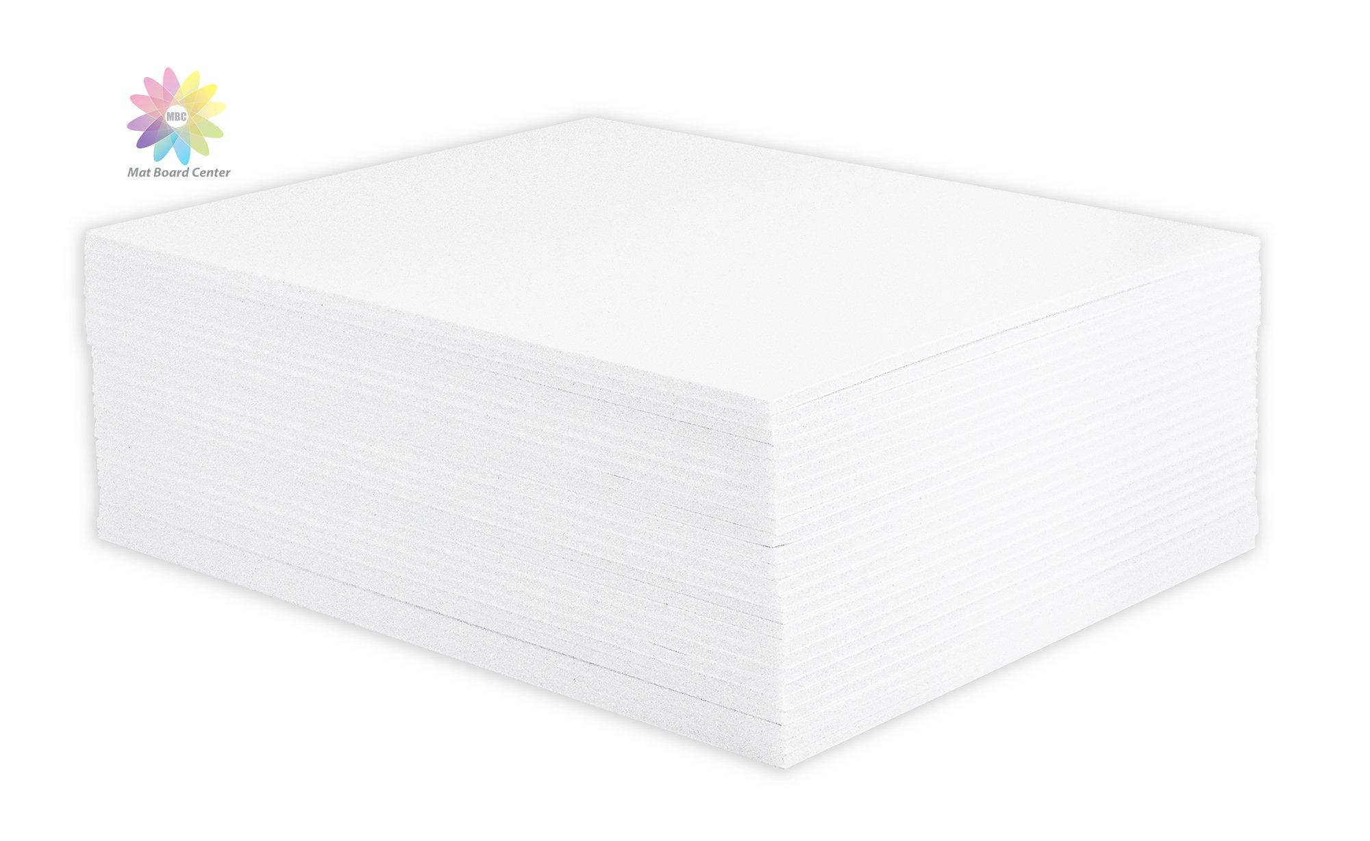 Mat Board Center, Pack of 25 11x14 1/8'' White Foam Core Backing Boards by MBC MAT BOARD CENTER