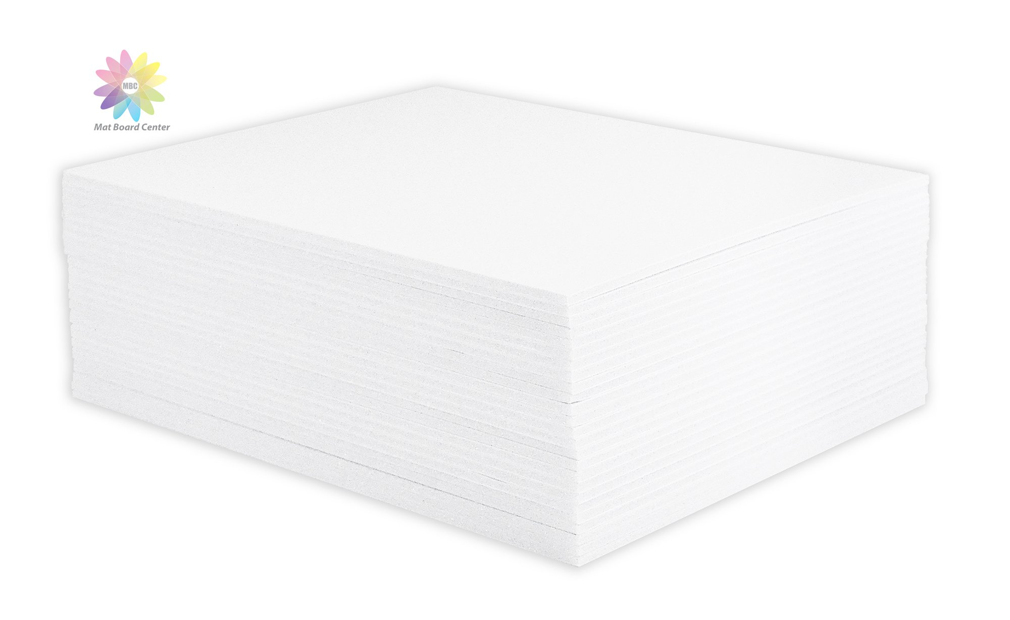 Mat Board Center, Pack of 25 11x14 1/8 White Foam Core Backing Boards