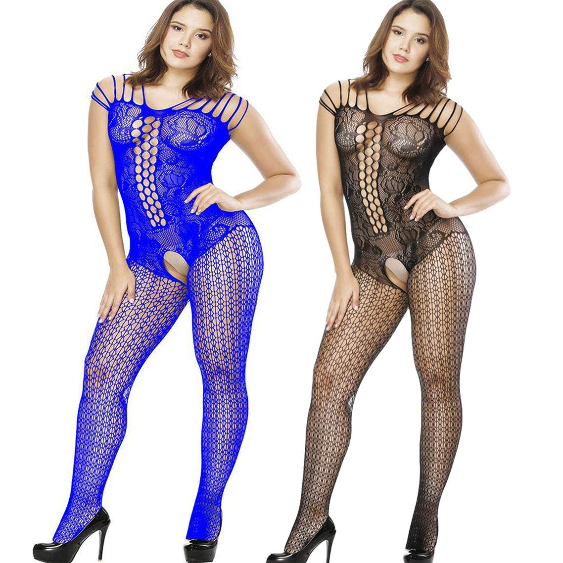 ad2ef8c9bba6b Amazon.com: LOVELYBOBO 2 Pack Crotchless Fishnet Bodystocking Plus Size  Open Crotch Teddy Lingerie for Women (Black+Blue): Clothing