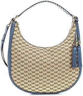 6aaf4acc8817 Amazon.com: MICHAEL KORS LAURYN LARGE LOGO PRINT BAG Natural/Denim ...