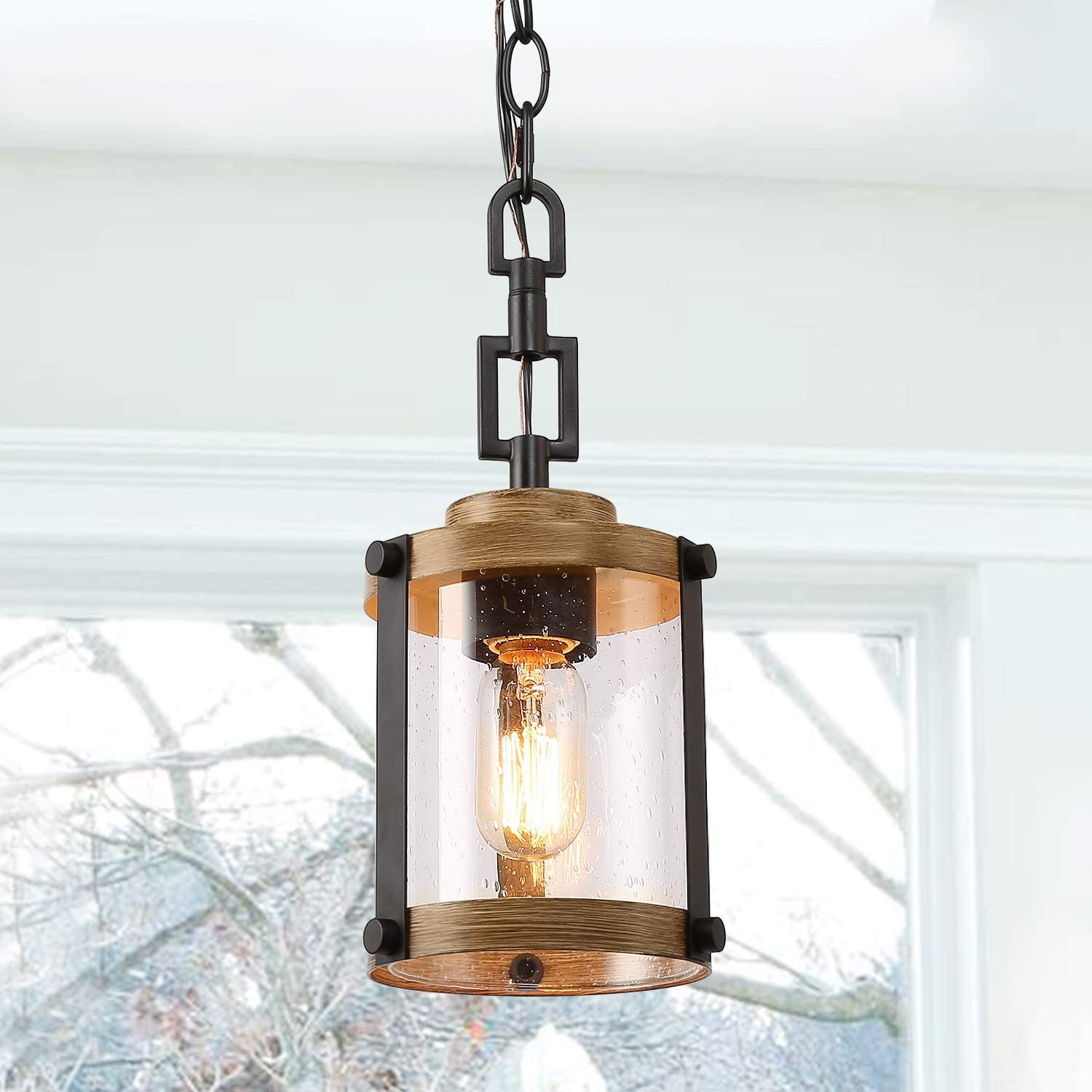 "LOG BARN Farmhouse Rustic Pendant Light, 1 Light Hanging Foyer Lighting Fixture in Distressed Black Metal & Faux Wood Finish with Clear Bubbled Glass Shade, 7.5"" Ceiling Lamp"