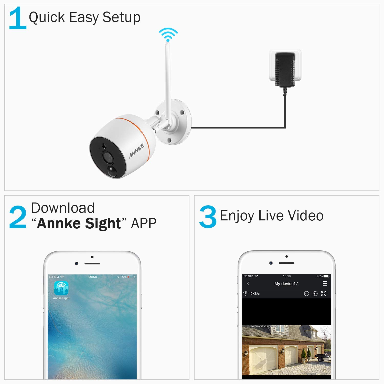 ANNKE 1080P Outdoor Security Camera, FHD Surveillance WiFi IP Camera with 2-Way Audio, IP66 Waterproof Wireless Bullet Camera, Smart IR Night Vision, PIR Motion Detection, Remote Access