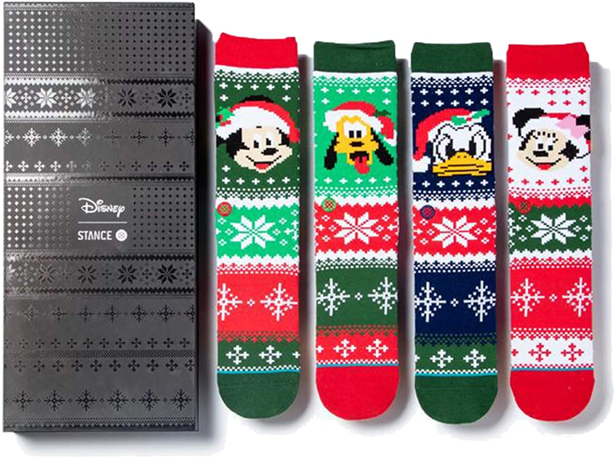 Stance Men's Disney Christmas Sock Box Set, Mickey/Minnie/pluto Claus