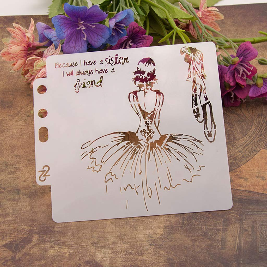 Fafalloagrron Fille Pochoirs Mod/èle Peinture Scrapbooking gaufrage Stamping Album Carte DIY