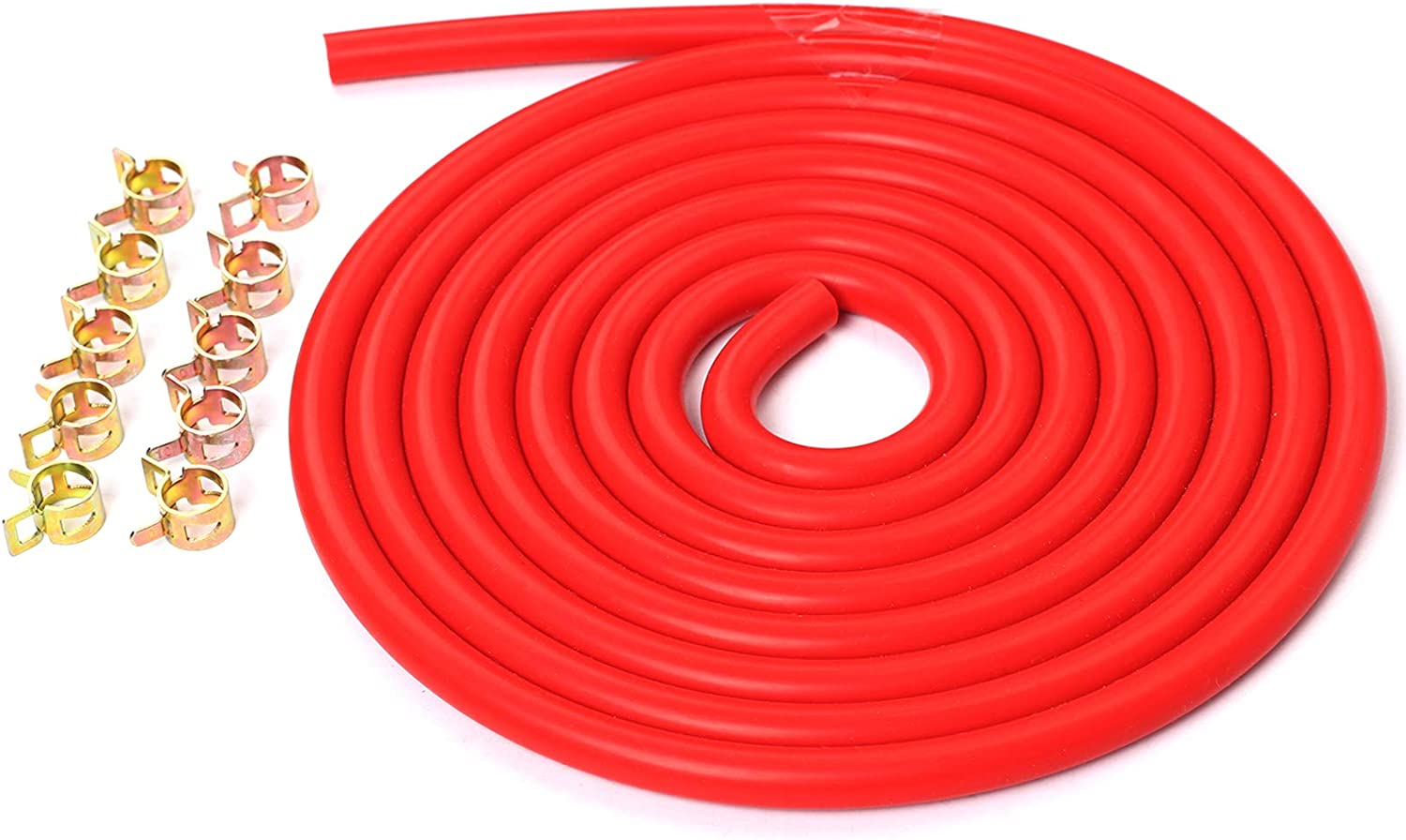 10 Feet Red 3//16//5mm Silicone Vacuum Hose 10 PCS 10mm Spring Clip Clamps Kit