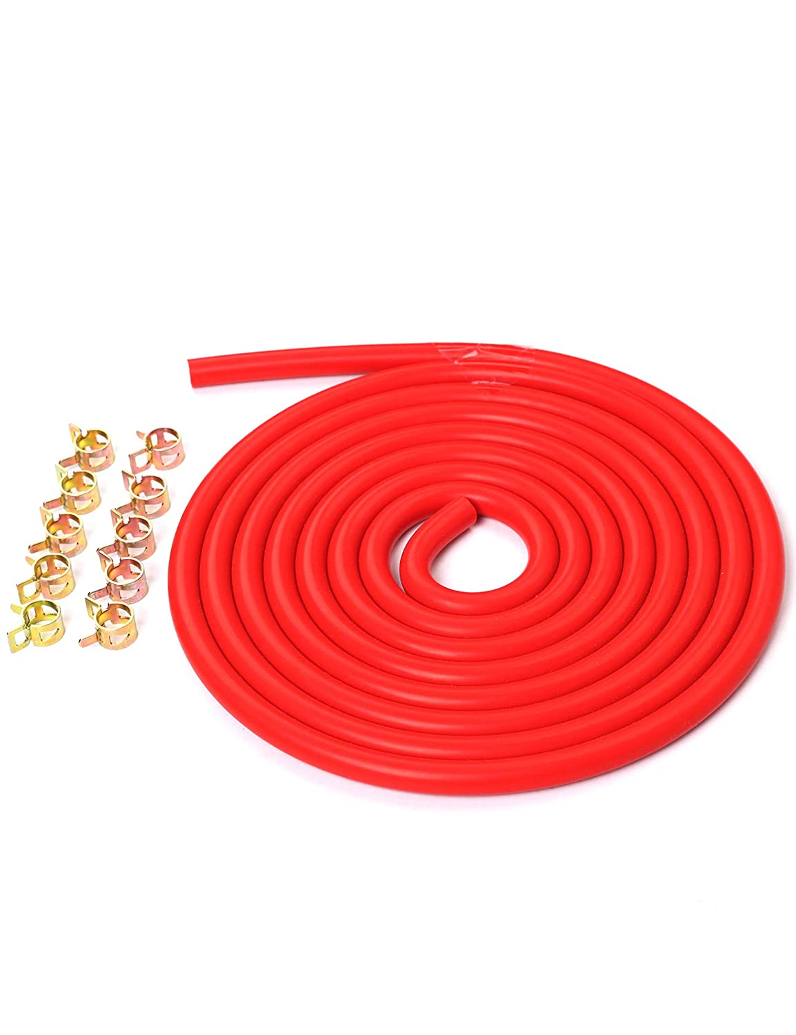 10 Feet Red 3/16'/5mm Silicone Vacuum Hose + 10 PCS 10mm Spring Clip Clamps Kit blackhorseracing