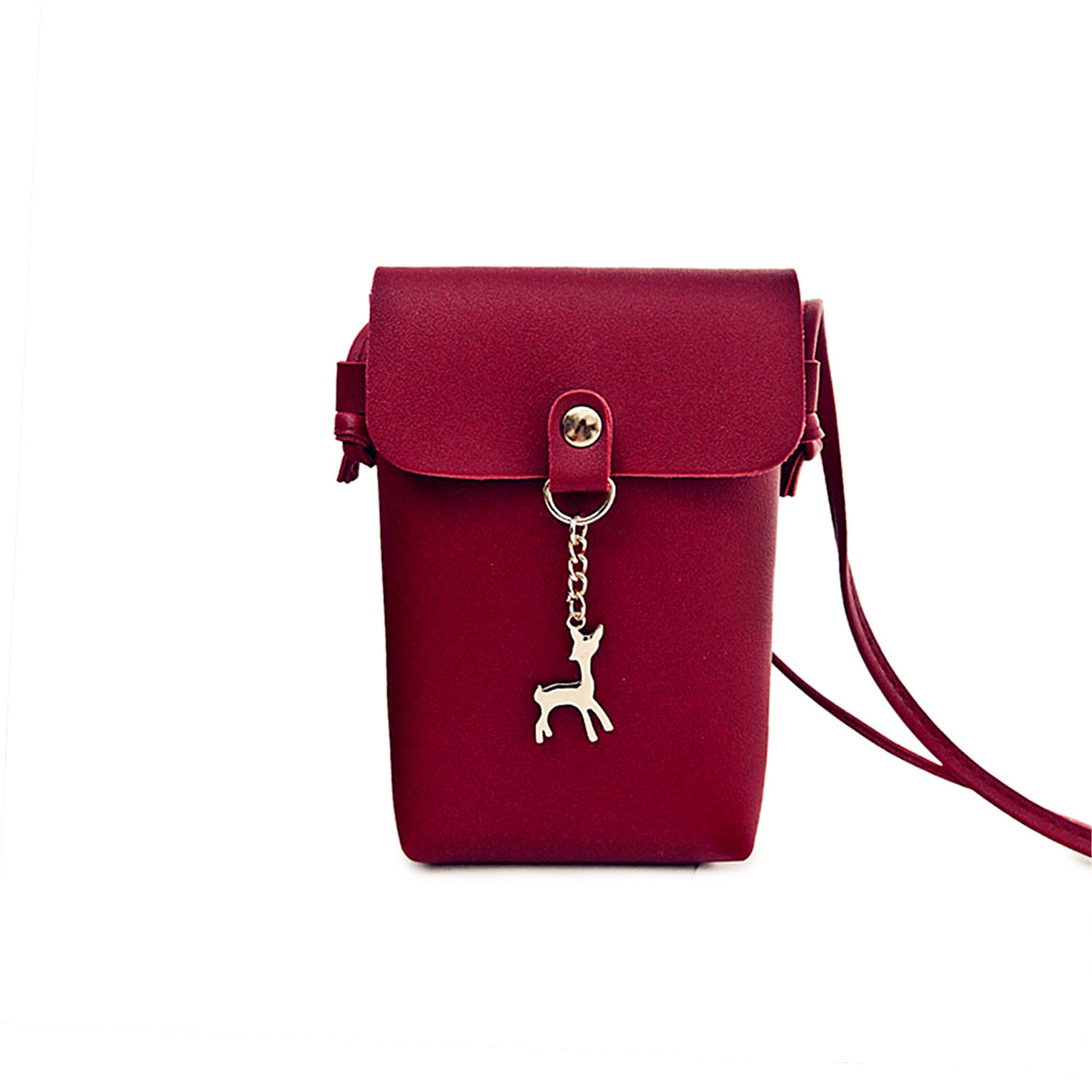 Mufly Women Small Crossbody Purse Cell Phone Pouch Wallet Shoulder Bag PU Leather Mini Cellphone Pouch for Little Girl(wine red)