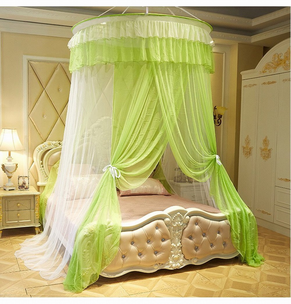 KingKara Luxury Princess Bed Net Canopy Round Hoop Netting Bedroom Decor Large Size Mosquito Net Bedding or Outdoors Netting Fit Twin, Full, Queen, King Bed Tent (Green with White)