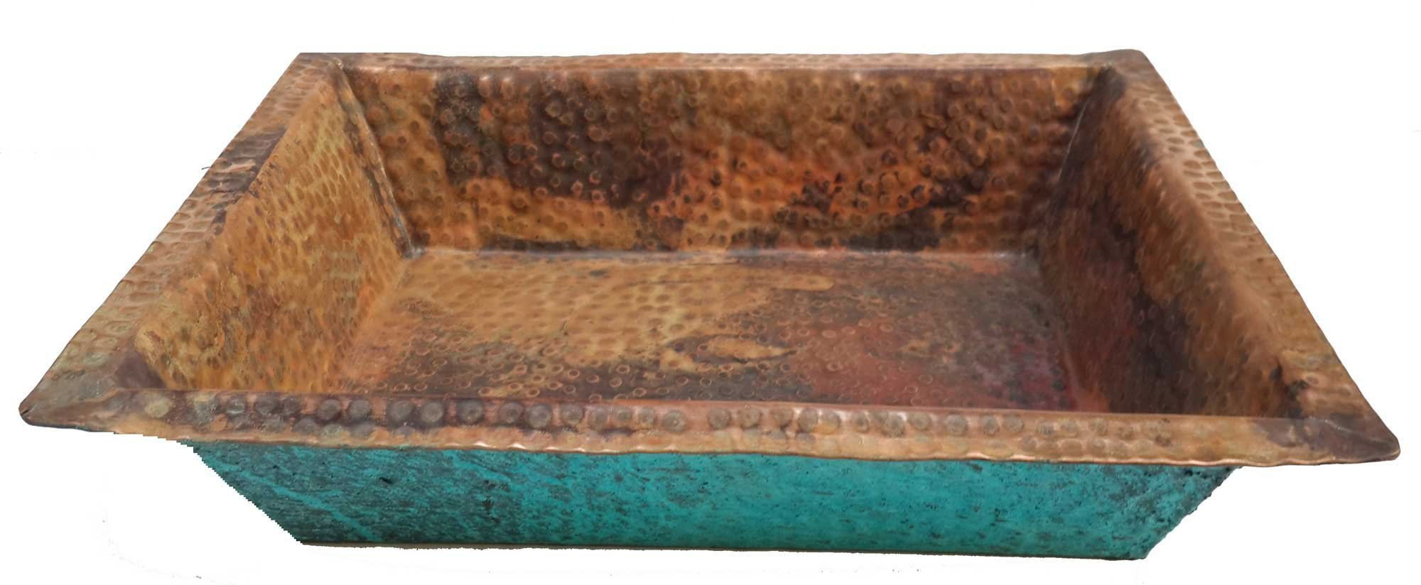 Shallow Rectangle Verdi Fire Burnt Foot Wash Soaking Massage Spa Pedicure Flat Lip Bowl by Egypt gift shops