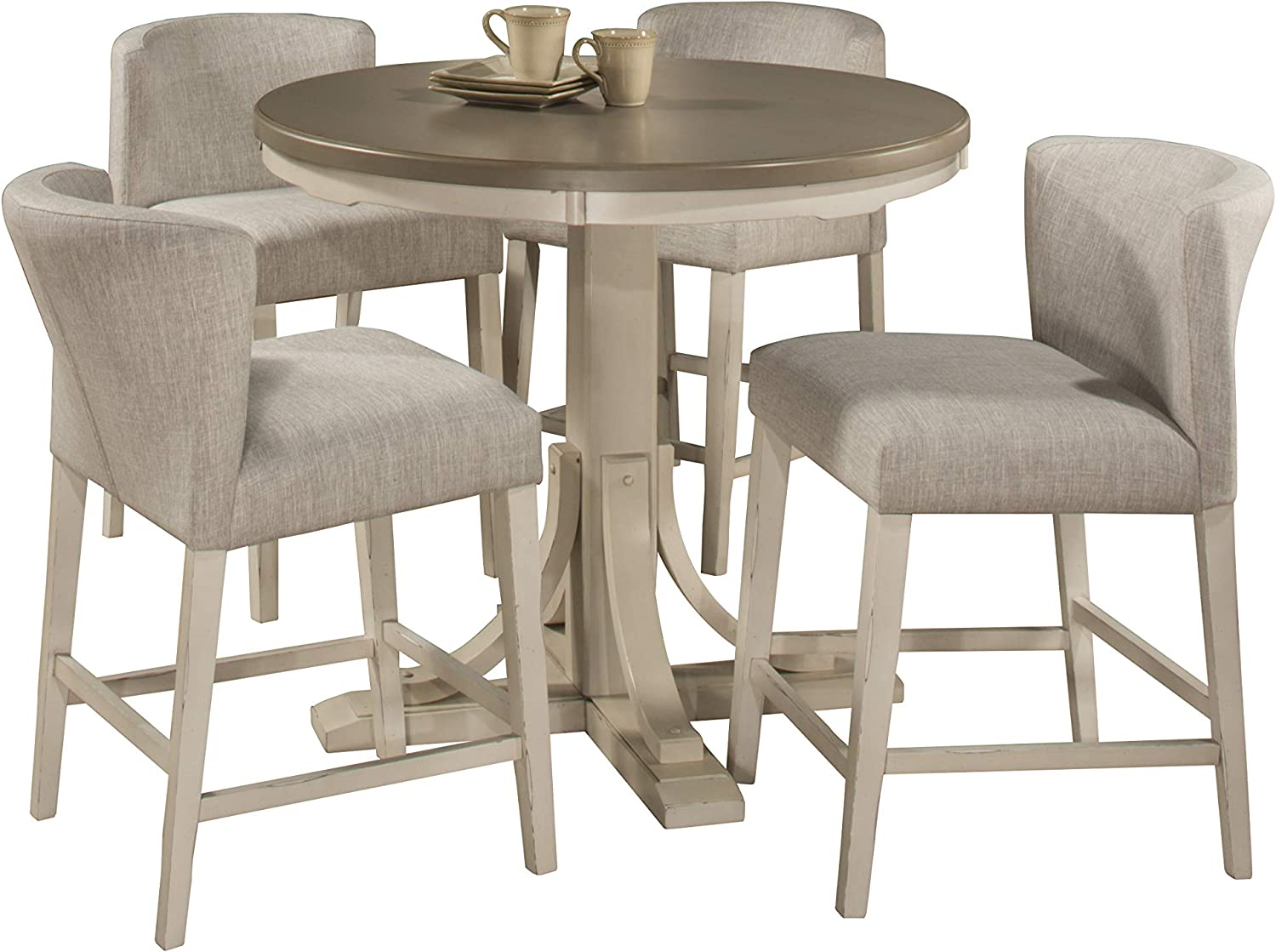 Hillsdale Furniture Hillsdale Clarion Round Counter Height Wing Arm Stools, Distressed Gray/Sea White 5 Piece Dining Set
