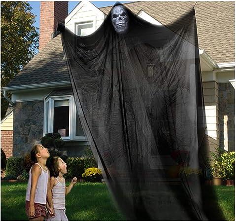 Iholamey Halloween Dekoration Zum Aufhangen Skelett Fliegender Geist Gruseltod Ghost Requisiten Fur Draussen Draussen Draussen Himmelformig Balkon Deck Grosse L Amazon De Garten