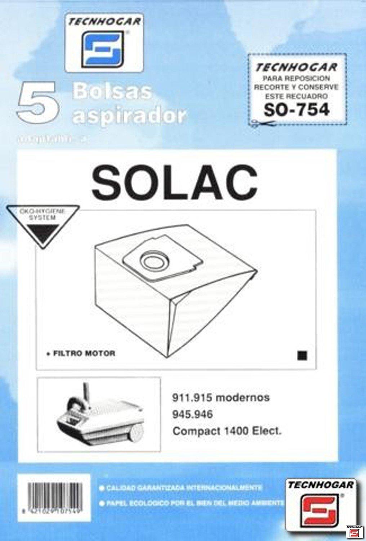 Tecnhogar - Bolsa Aspirador Solac 911 5P. 754